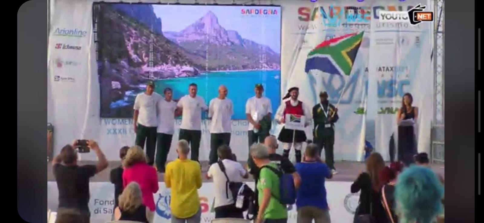 South African Worlds Springbok team on the stage at the opening ceremony in Sardinia